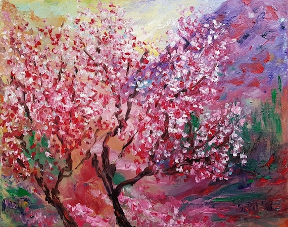 Cherry Blossom Painting On Canvas Japanese Cherry Tree Etsy