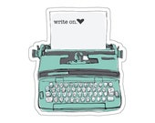 Write On Typewriter Sticker,Decal For Writers,Vinyl Writing Sticker,Cute Gift for Writer,Typewriter Decal,Journalist Gift,Water Bottle Decal