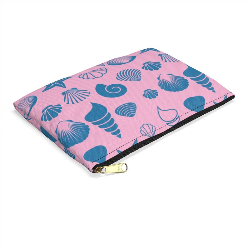 Seeing Shells Pink and Blue Seashell Themed Accessory Pouch