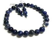 Sodalite Dangle Earrings and Beaded Bracelet Crystal Jewelry Set. Natural Grade A Healing Gemstone Holistic Gifts. Sagittarius Birthstone.
