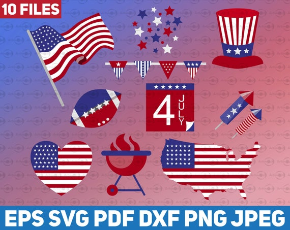 Independence Day Clipart Bundle 10 Files Svg Vector American Etsy