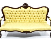 Antique sofa with matching pair of armchairs, Louis XV style