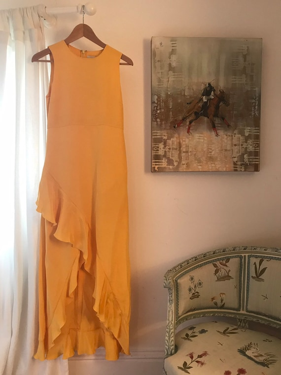 Yellow 100% Silk Midi Dress With Pockets