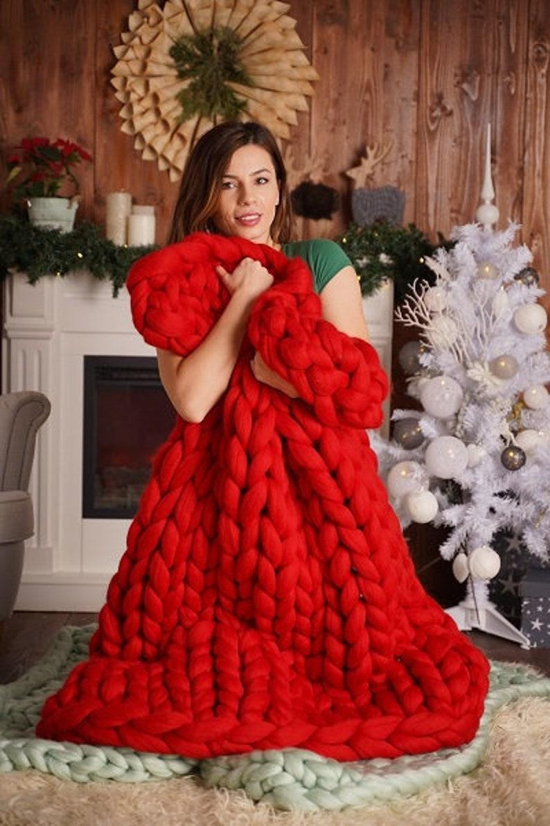 Chunky blanket Chunky merino wool blanket Handknitted image 0