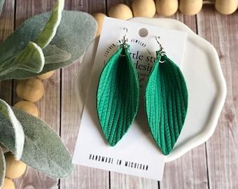 Emerald Kelly Green Leather Petal Earrings, Palm Leaf Leather Earrings, Pinched Petal Earrings, Christmas Earrings, Teacher Gift for her
