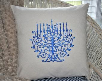 Mini Pillow ~ Hanukkah Pillow ~ Menorah Pillow ~ Hanukkah Decoration ~ Tiered Tray Decor ~ Tiny Pillow ~ Basket Filler ~ Hannah Menorah