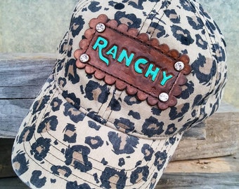 9e4a881bcd7df Baseball cap cheetah print with tooled leather patch ~ Ranchy