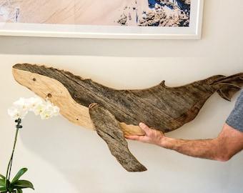 Wood Art / Reclaimed Wood / Humpback Whale / Wood Wall Art / Wood Decor / Recycled Wood / Home Decor / Ocean Wall Art