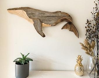 Wood Art / Reclaimed Wood / Whale Calf / Wood Wall Art / Wood Decor / Recycled Wood / Home Decor / Ocean Wall Art