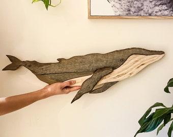 Wood Art / Reclaimed Wood / Small Humpback Whale / Wood Wall Art / Wood Decor / Recycled Wood / Home Decor / Ocean Wall Art