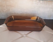 Vintage Anchor Hocking Fire King 1 1 2 Qt. Casserole Dish,Oval Amber Glass