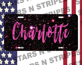 Personalized Custom Text Name Pink And Black Galaxy Vanity Aluminum License Plate Vehicle Sign Car Auto Truck Tag USA Made For Her