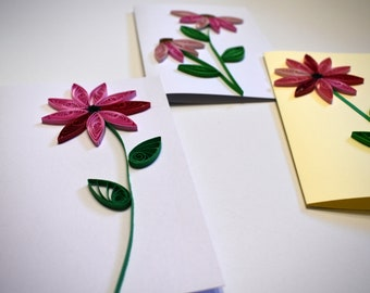 Floral Blank Inside Card Set of 4 Paper Quilled Note Cards - Pink and Red Mixed Designs