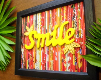 Smile Wall Art Decor, Recycled Magazine Art, Paper Quilled Wall Artwork, Upcycled Magazine, Housewarming Gift, Mixed Media Collage