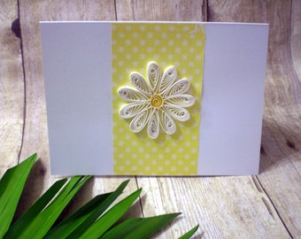 White Paper Quilled Daisy Card, Handmade Card for Any Occasion, Mother's Day Card, Greeting Card, Daisy Birthday Card, Thank You Cards
