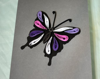 Butterfly Quilled Greeting Card, Paper Quilling Card, Butterfly Birthday Card,