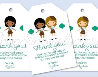 photograph regarding Girl Scout Cookie Thank You Notes Printable named Quick Obtain Lady Scout Thank By yourself Cookie Playing cards Tags Etsy