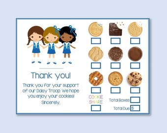 picture regarding Girl Scout Cookie Thank You Notes Printable known as Cookie invest in type Etsy