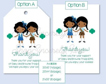 photograph relating to Girl Scout Cookie Thank You Notes Printable named Fast Obtain Woman Scout Thank Oneself Cookie Playing cards Tags Etsy