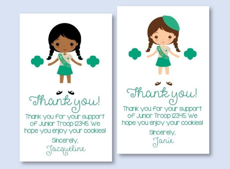 image regarding Girl Scout Cookie Thank You Note Printable identified as Tailor made Down load Junior Lady Scout Cookie Thank On your own Be aware Card Tag - *Custom made PDF Printable* for Daisy Brownie Junior Cadette