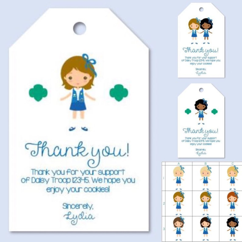 image about Girl Scout Cookie Thank You Note Printable named Personalized Obtain Woman Scout Cookie Thank Yourself Be aware Card Tag - *Customized PDF Printable* for Daisy Brownie Junior Cadette
