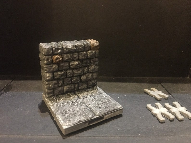 image relating to 3d Printable Dungeon Tiles named 3d published painted 2x2 dungeon tile and wall