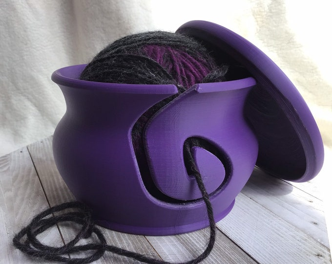 Featured listing image: Purple Yarn Bowl with Lid