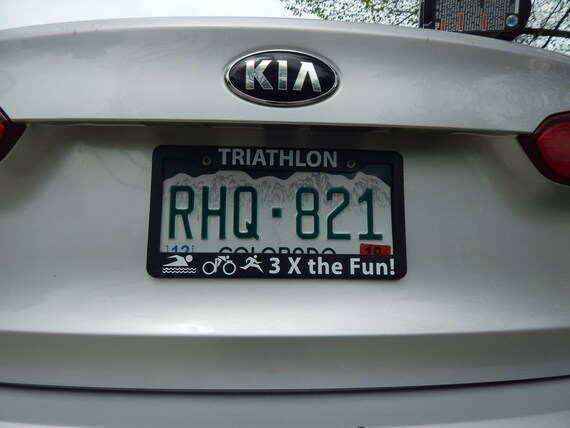 Black License Plate Frame TRIATHLON w//LOGOS Auto Accessory