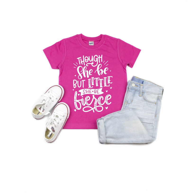 """she is FIERCE/"""" Baby Girls T shirt Neon Pink American /""""though she be but little"""