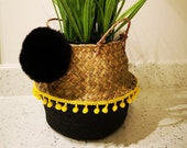 Small Handwoven Belly Basket foldable for plants or storage scandi, pompoms, nursery