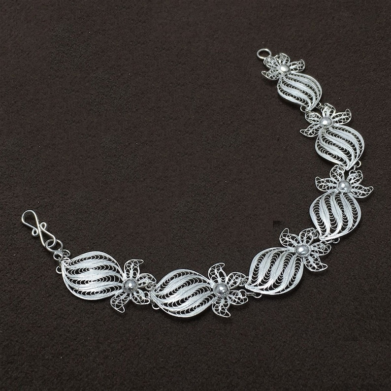 Hand Kinitted Bracelets Necklace Earrings and Ring Special 925 Pure Silver Handmade Turkish Telkari Jewellerry Sets Vintage,65,Mothers Day