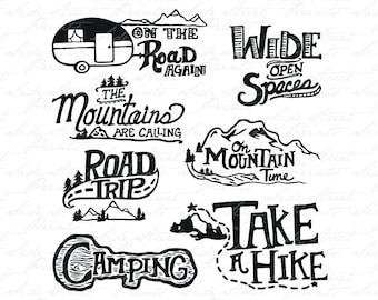 f7fd6ccb Adventure Camping Roadtrip Bundle Art - PDF, vector art, svg, cut file,  logos, prints, stickers, t shirt, digital print, circuit, dye cut