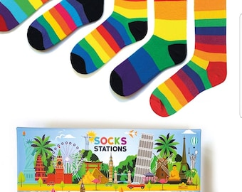 Shipping from Texas. 6 Boxed Fruit patterns colorful High quality socks
