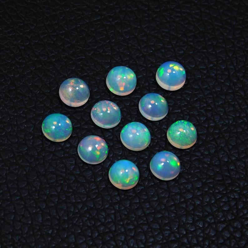 AAA Quality Fire Ethiopian Opal Loose Gemstone 10 Pcs 6mm Round Ethiopian Opal Cabochon Calibrated Size Welo Opal Jewellery Gemstone