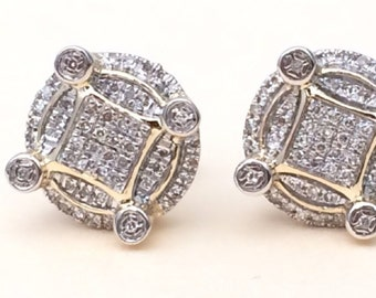 a5b2484b4 Yellow Gold Over Round Diamond Studs Concave Kite Pave Mens Ladies Earrings  925 Sterling Silver