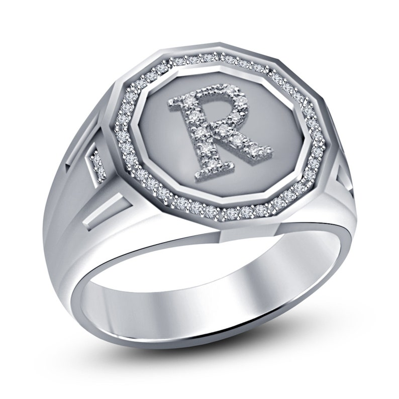 Men/'s 18K White Gold Plated Round DVVS1 Diamond Initial Letter H Ring Solid 925 Sterling Silver
