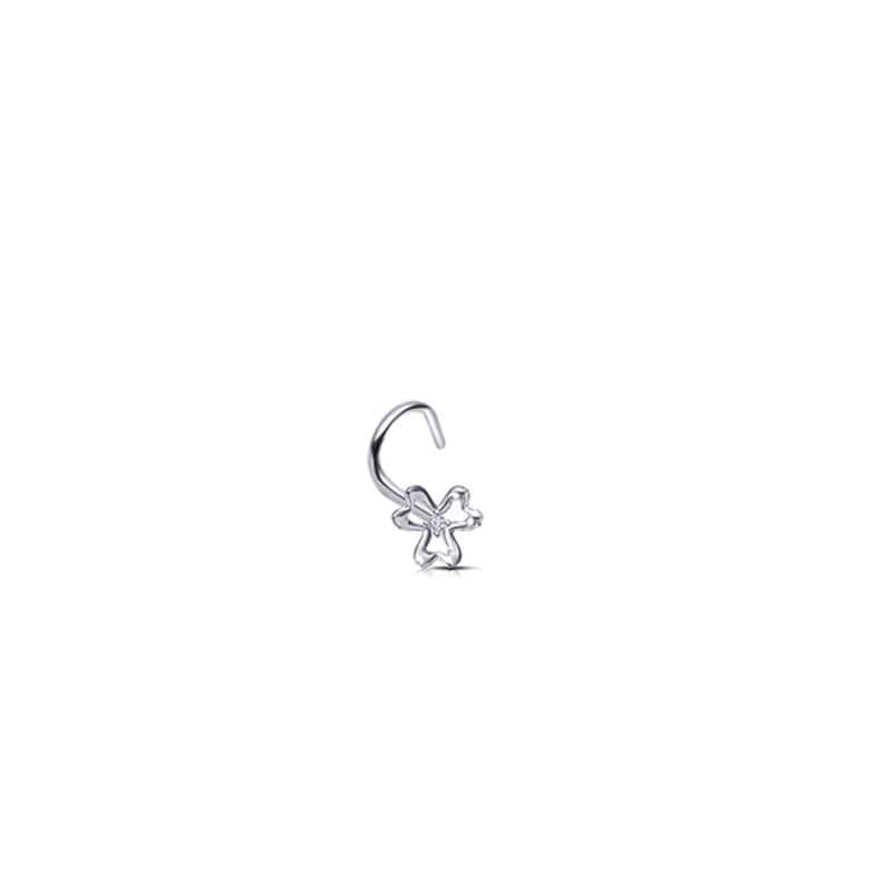 Sterling Silver Pin Flower Ethnic Nose Ring Elegant Piercing Silver Nose Stud Nose Pin Nose Stud Diamond Cubic Zirconia