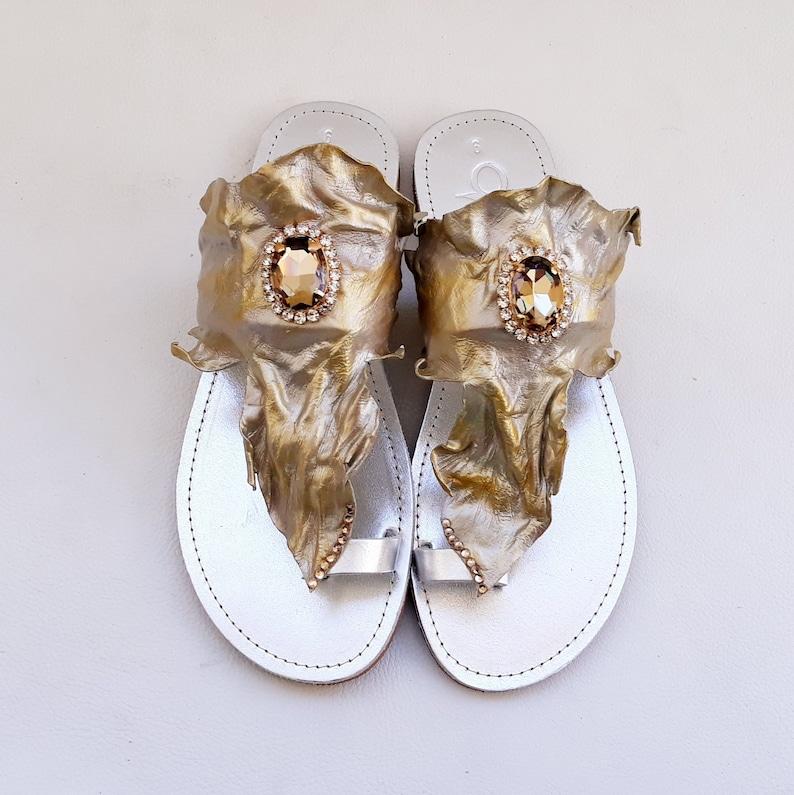 805e8f52f0ab0 Silver Gold Swarovski Sandals