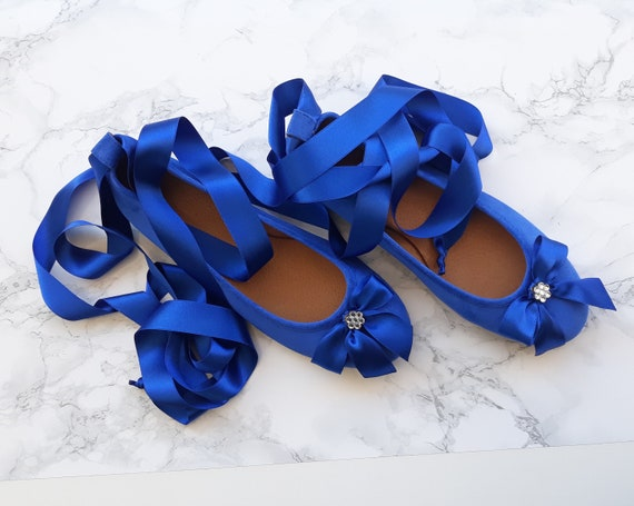 Blue Wedding Ballet Flats With Satin