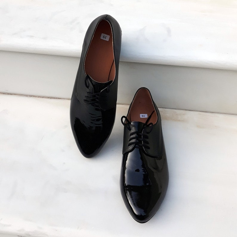 Handmade Women Shoes Tie Shoes Oxford Leather Shoes In Black Color Flat Shoes