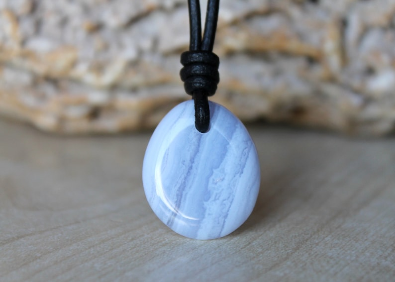 Blue Lace Agate Pendant Blue Lace Agate Necklace Gift stone for girlfriend Agate jewelry