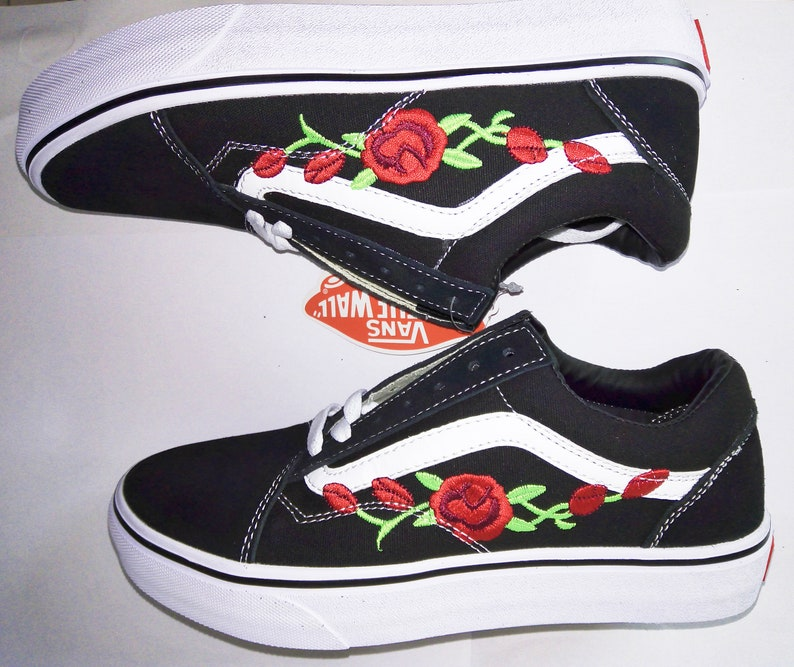1e85426b347b Custom Vans Old Skool Shoes Embroidered with Red Roses