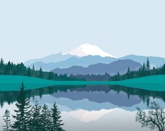 Printable mountain lake print Horizontal landscape wall art Mt Rainier Green blue white nature Living room digital prints