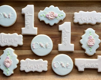First Birthday Floral Vanilla Sugar Cookies (1 Dozen, 12 Cookies) Custom made personalized Royal Icing Baby Shower Birthday Cookies