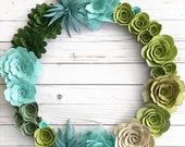 18 quot Felt Succulents Wreath Felt Wreath Felt floral wreath wreath for Front Door Every day wreath Modern wreath
