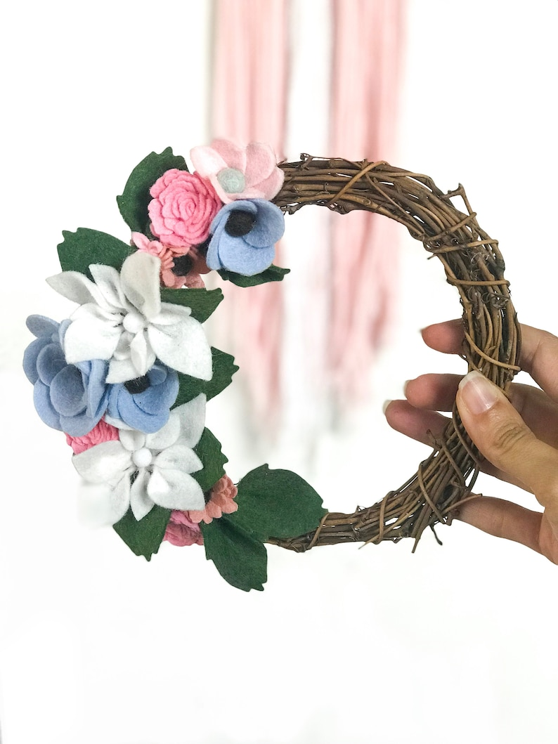 Wreath For Front Door All Year Round / 9 Inches Felt Flower Wreath / Floral  Wreath / Flower Wreath / Spring Wreath / Every Day Wreath