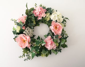 Artificial floral wreath - pink and ivory hydrangea, peony and ivy wreath