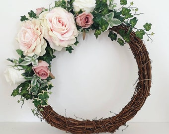 Artificial floral wreath - pink and ivory rose and ivy rustic rattan/grapevine wreath