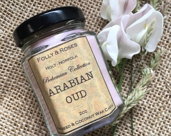 Arabian Oud Handpoured Natural Wax Candle - 2oz Bohemian Collection