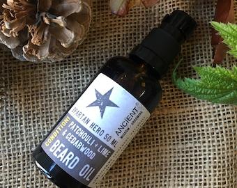 Spartan Hero Essential Oil Beard Oil - Patchouli, Lime and Cedarwood - 50ml Bottle
